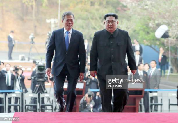 North Korean leader Kim Jong Un and South Korean President Moon Jaein during the InterKorean Summit April 27 2018 in Panmunjom South Korea Kim and...