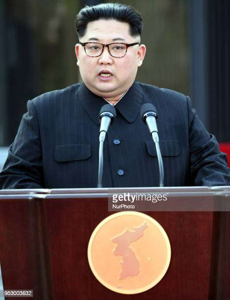 North Korean leader Kim Jong Un announces the Panmunjom Declaration for Peace Prosperity and Unification of the Korean Peninsula during the...
