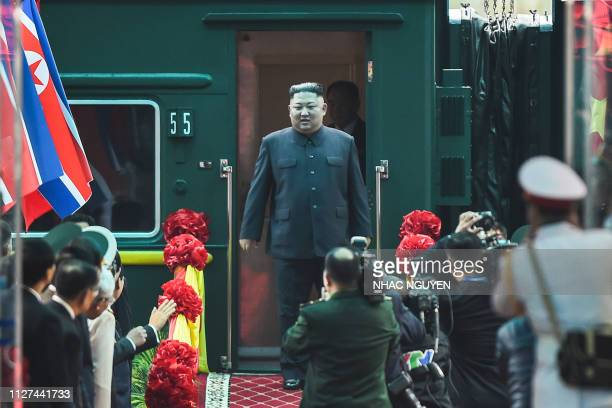 TOPSHOT North Korean leader Kim Jong Un arrives at the Dong Dang railway station in Dong Dang Lang Son province on February 26 to attend the second...