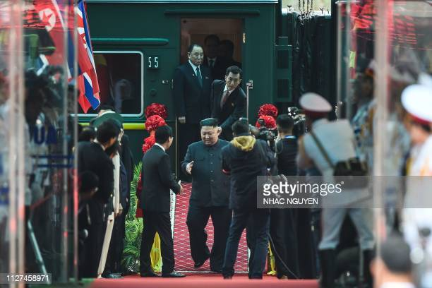 North Korean leader Kim Jong Un arrives at the Dong Dang railway station in Dong Dang Lang Son province on February 26 to attend the second USNorth...