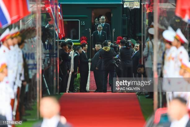 North Korean leader Kim Jong Un arrives at the Dong Dang railway station in Dong Dang Lang Son province on February 26 2019 North Korean leader Kim...