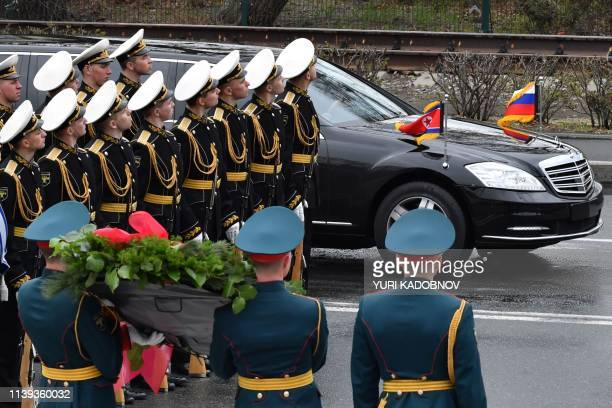 North Korean leader Kim Jong Un arrives in his limousine for a wreathlaying ceremony at a WWII memorial in the fareastern Russian port of Vladivostok...