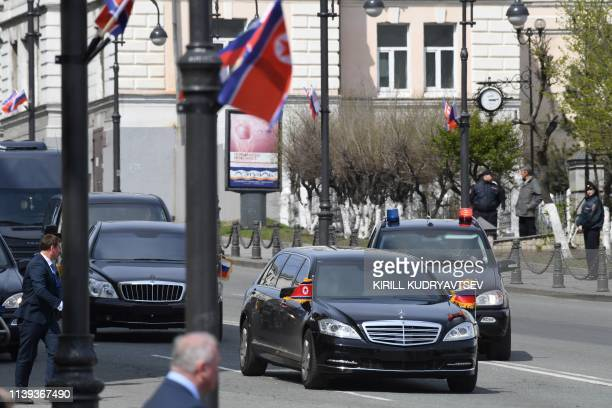 North Korean leader Kim Jong Un arrives in his limousine for a ceremony upon his departure from Russia outside the railway station in the fareastern...