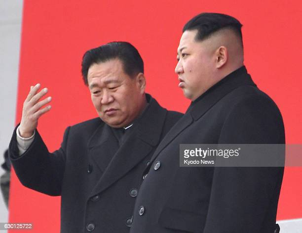 North Korean leader Kim Jong Un attends a memorial service together with Choe Ryong Hae a vice chairman of the ruling Workers' Party in Pyongyang on...