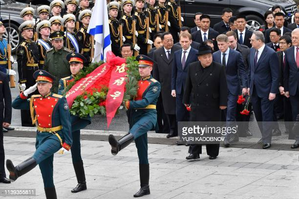 North Korean leader Kim Jong Un attends a wreath-laying ceremony at a WWII memorial in the far-eastern Russian port of Vladivostok on April 26, 2019.