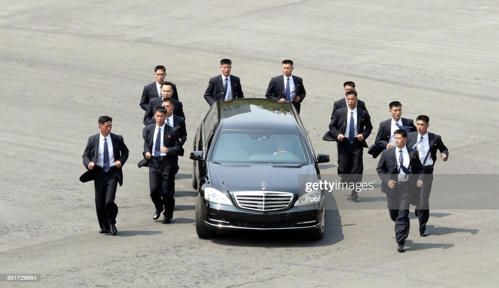 North Korean Leader Kim Jong Un heads to the north side for luncheon in the car escorted by North's bodyguards from the Peace House during the Inter-Korean Summit on April 27, 2018 in Panmunjom, South Korea. Kim and Moon meet at the border today for the third-ever inter-Korean summit talks after the 1945 division of the peninsula, and first since 2007 between then President Roh Moo-hyun of South Korea and Leader Kim Jong-il of North Korea.