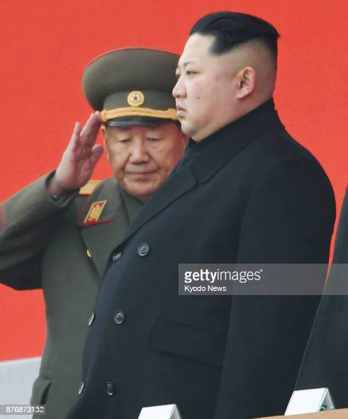 North Korean leader Kim Jong Un is pictured with Hwang Pyong So head of the General Political Bureau of the Korean People's Army during a memorial...