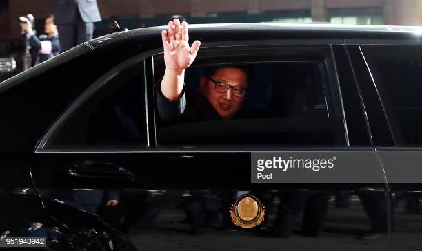 North Korean Leader Kim Jong Un leaves the Peace House after the InterKorean Summit and dinner on April 27 2018 in Panmunjom South Korea Kim and Moon...