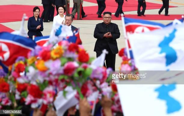North Korean Leader Kim Jong Un meet with South Korean President Moon Jaein as Moon jaein arrives for the InterKorean Summit at Pyongyang Sunan...