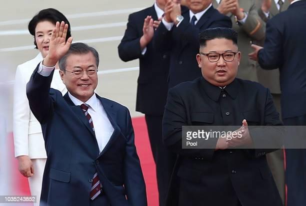 North Korean Leader Kim Jong Un meets with South Korean President Moon Jaein for the InterKorean Summit at Pyongyang Sunan International Airport on...
