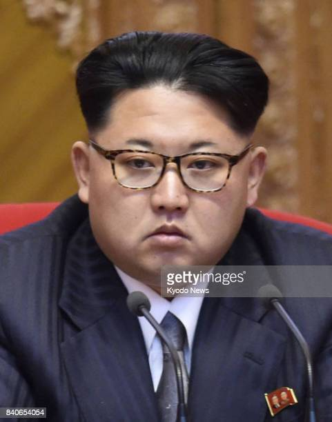 North Korean leader Kim Jong Un seen in this file photo directly oversaw the latest launch of a Hwasong12 intermediaterange ballistic missile on site...