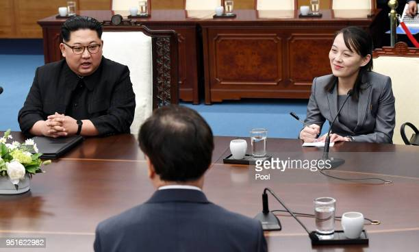 North Korean Leader Kim Jong Un sister Kim Yo Jong attend the InterKorean Summit at the Peace House on April 27 2018 in Panmunjom South Korea Kim and...