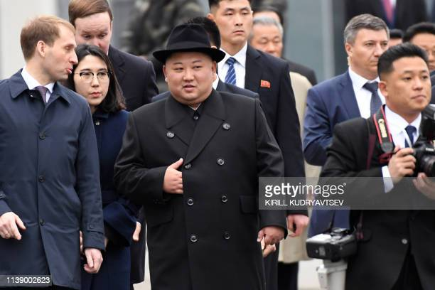 TOPSHOT North Korean leader Kim Jong Un walks upon arrival at the railway station in the fareastern Russian port of Vladivostok on April 24 2019