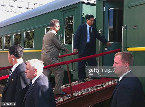 North Korean leader Kim JongIl enters his armoured carriage at the station of Novobureisky on August 21 175 kilometers east from the town of...
