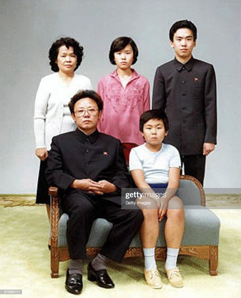 North Korean Leader Kim Jong Il Bottom Left Poses With His First Born Son : News Photo