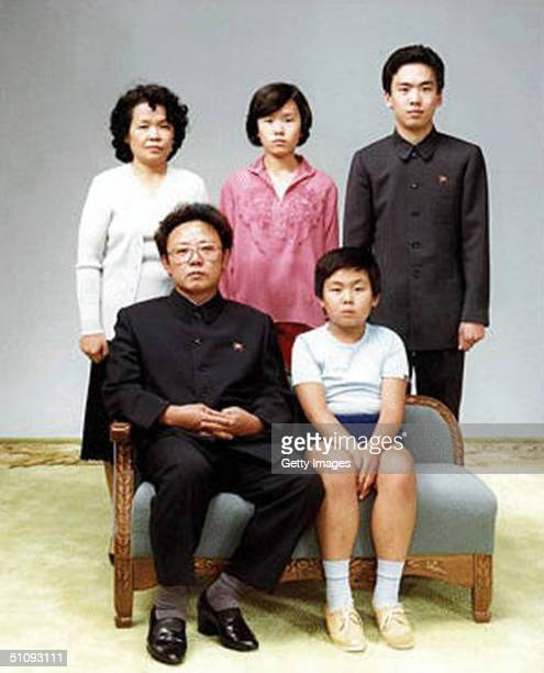 North Korean leader Kim Jong-Il with family members, 19th August 1981. Front: Kim Jong-Il and his son, Jong-Nam. Back: Kim Jong Il's sister-in-law,...