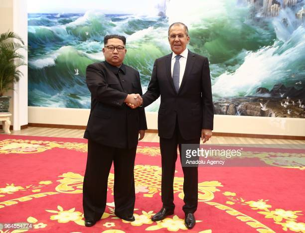 North Korean leader Kim Jong-un and Russia's Foreign Minister Sergei Lavrov shake hands during a meeting at Kumsusan Palace in Pyongyang, North Korea...