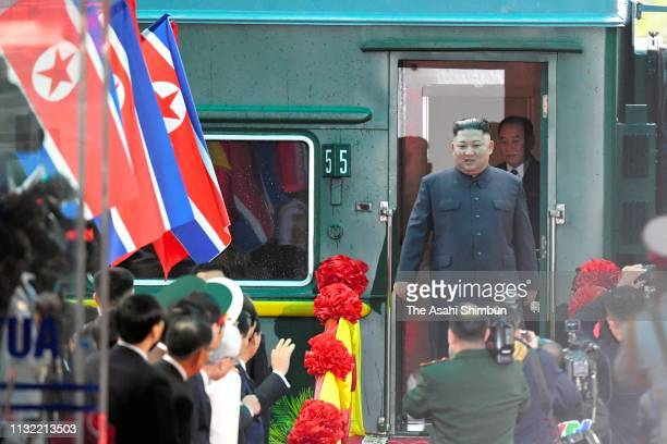 North Korean leader Kim Jongun gets off the train on arrival at Dong Dang Station on February 26 2019 in Dong Dang Vietnam North Korea's leader Kim...