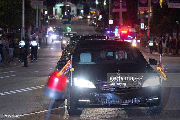North Korean leader Kim Jongun is seen on his way to Changi Airport on June 12 2018 in Singapore US President Trump and North Korean leader Kim...