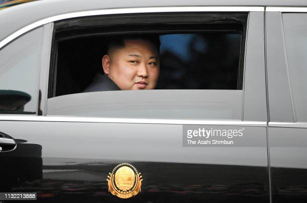 North Korean leader Kim Jongun is seen on the car on arrival at Dong Dang Station on February 26 2019 in Dong Dang Vietnam North Korea's leader Kim...