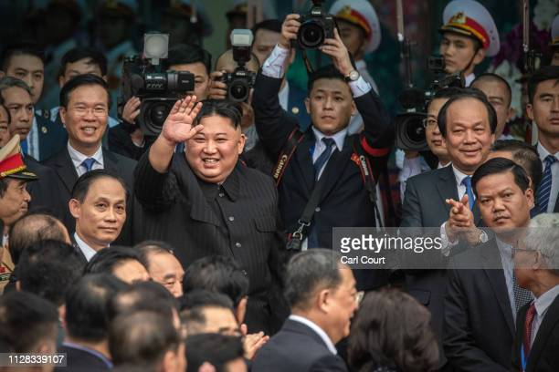 North Korean leader Kim Jongun waves as he prepares to leave Vietnam by train after a two day official visit preceded by the DPRKUSA Hanoi summit on...