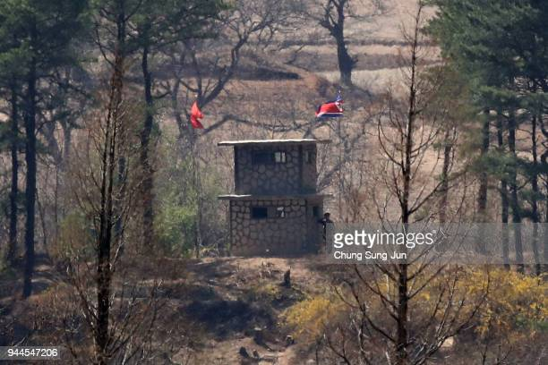 North Korean military check point is seen from an observation post on April 11, 2018 in Panmunjom, South Korea. South Korean President Moon Jae-in...