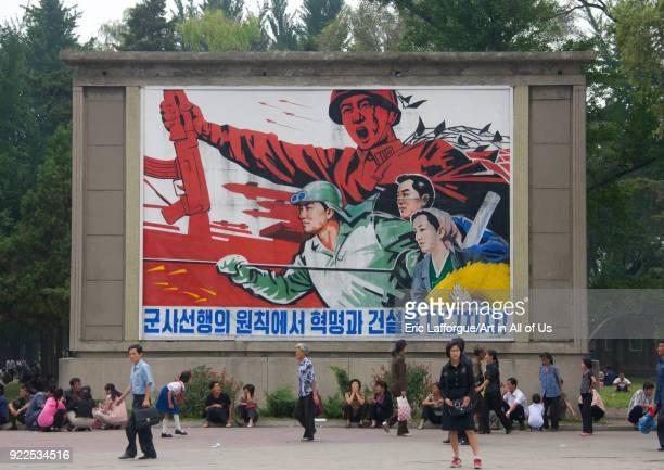 North Korean military propaganda billboard in the street Pyongan Province Pyongyang North Korea on September 9 2011 in Pyongyang North Korea