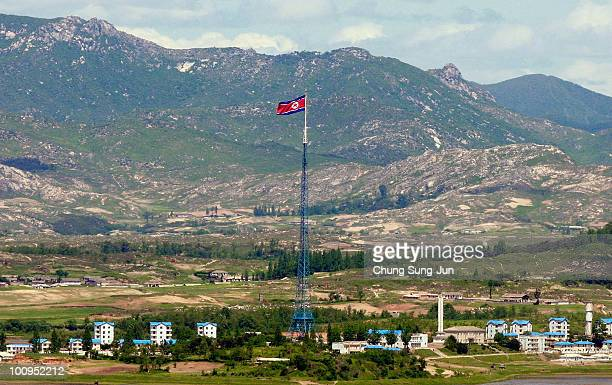 North Korean national flag in North Korea's propaganda village of Gijungdong is seen from an observation post on May 26, 2010 in Panmunjom, South...