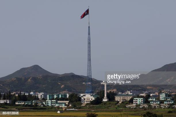 North Korean national flag in North Korea's propaganda village of Gijungdong is seen from an observation post on September 28 2017 in Panmunjom South...