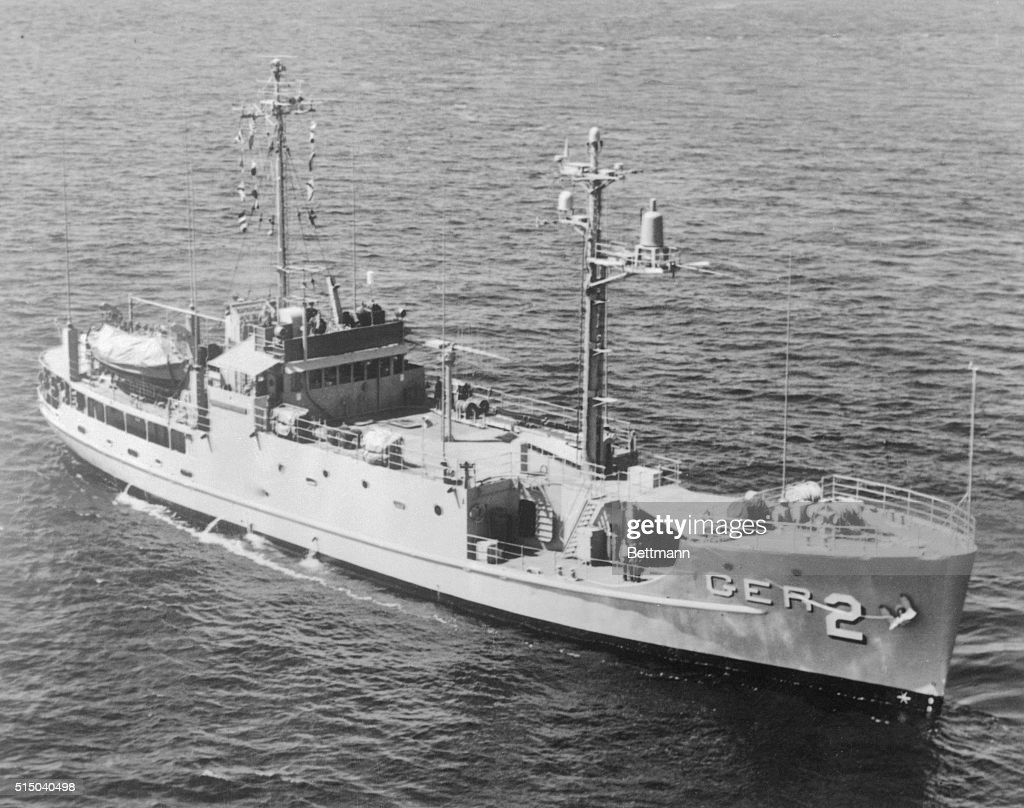 A North Korean Naval force seized the American intelligence ship, USS Pueblo (shown in a file photo) on the high seas early 1/23/1968. As MIG fighters circled overhead, the Pueblo, with 83 men aboard, was forced by Communist patrol boats to put into the North Korean port of Wonsan. Some members of Congress characterized the seizure as 'an act of war.'
