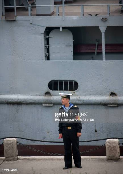North Korean navy sailor in front of the us spy boat Uss Pueblo Pyongan Province Pyongyang North Korea on May 20 2009 in Pyongyang North Korea