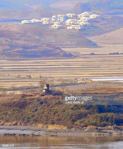 A North Korean observation post is seen from a South Korean observation post near the Demilitarized Zone separating the two Koreas in Paju on...