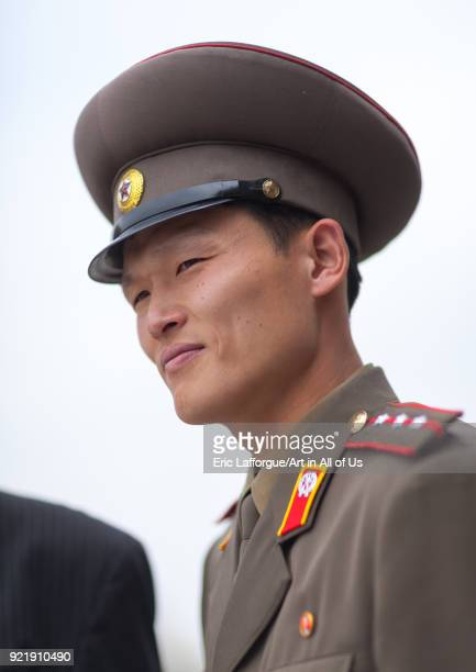 North Korean officer in the joint security area of the Demilitarized Zone, North Hwanghae Province, Panmunjom, North Korea on April 21, 2008 in...