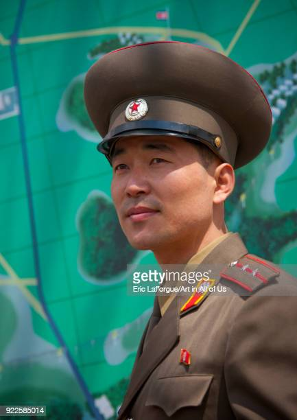 North Korean officer in the joint security area of the Demilitarized Zone, North Hwanghae Province, Panmunjom, North Korea on April 27, 2010 in...