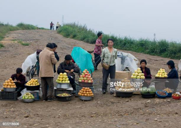 North Korean people selling fruits in a market in the countryside North Hwanghae Province Sariwon North Korea on September 11 2008 in Sariwon North...
