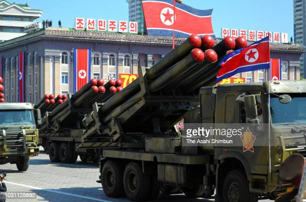 North Korean PeopleÕs ArmyÕs missiles are shown at the military parade as a part of the 70th anniversary of its founding on September 9, 2018 in...