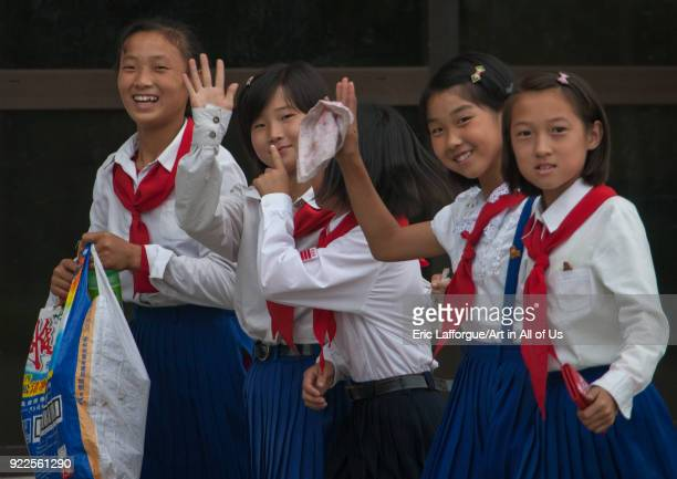 North Korean pioneers girls in Songdowon international children's camp Kangwon Province Wonsan North Korea on September 14 2011 in Wonsan North Korea