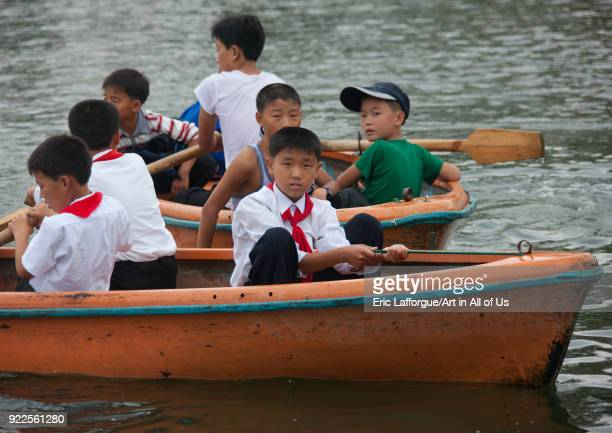 North Korean pioneers in rowing boats in Songdowon international children's union camp Kangwon Province Wonsan North Korea on September 14 2011 in...