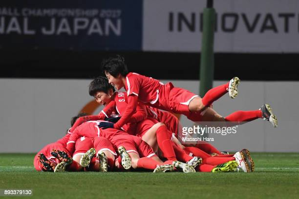 North Korean players celebrate their first goal scored by Kim Yun Mi during the EAFF E1 Women's Football Championship between Japan and North Korea...