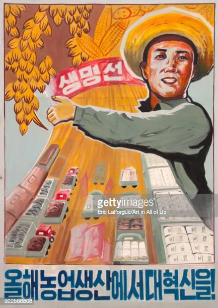 North Korean propaganda billboard depicting a happy farmer South Pyongan Province Chongsanri Cooperative Farm North Korea on September 12 2011 in...