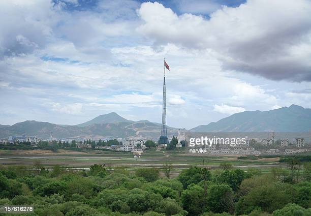north korean propaganda village - korean demilitarized zone stock pictures, royalty-free photos & images