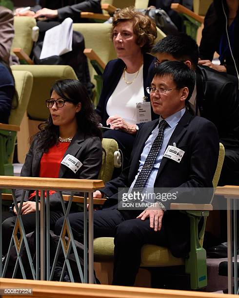 North Korean refugees Grace Jo and Jung Gwangil watch from the audience during a United Nations Security Council meeting on the Human Rights in the...