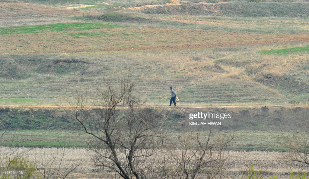 A North Korean resident in a showcase village in the demilitarised zone make preparations for farming on April 23, 2013