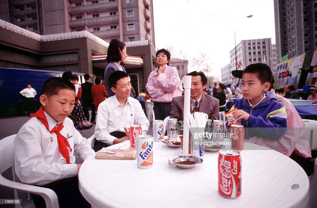 North Korean School Boys Drink Coke And Fanta July