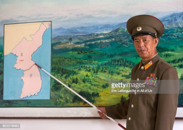 North Korean soldier in the joint security area in front of the map of Korea North Hwanghae Province Panmunjom North Korea on September 7 2012 in...