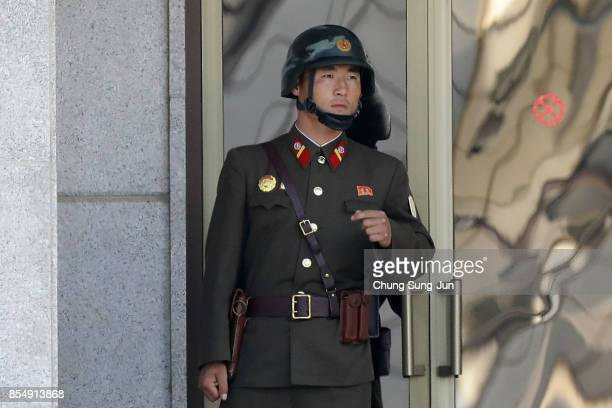 North Korean soldier looks at South Korea across the Korean Demilitarized Zone on September 28 2017 in Panmunjom South Korea North Korean Foreign...