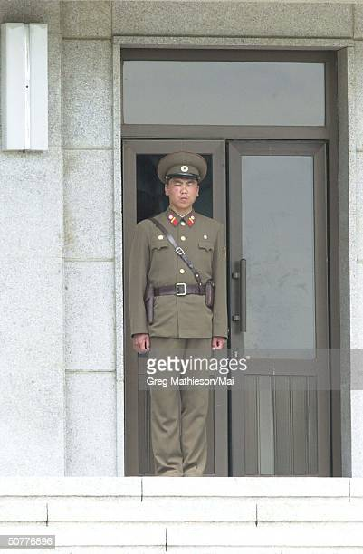 North Korean soldier standing guard across border from South Korea