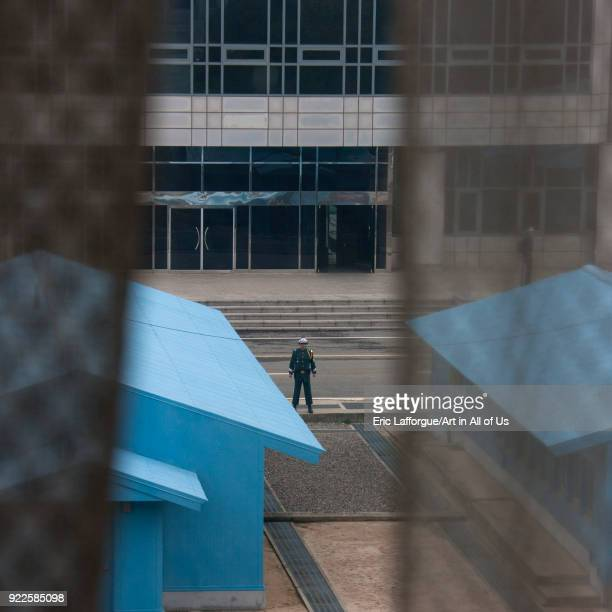 North Korean soldier standing in front of the United Nations conference rooms on the demarcation line in the Demilitarized Zone, North Hwanghae...