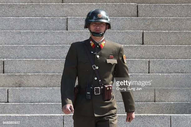 North Korean soldier stands guard at the border village of Panmunjom between South and North Korea at the Demilitarized Zone on April 18 2018 in...