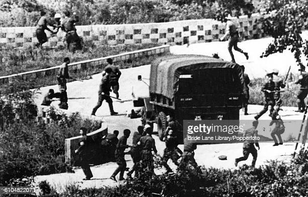 North Korean soldiers attack UNC personnel with axes near checkpoint No 3 in the Joint Security Area of the Korean Demilitarized Zone 18th August...